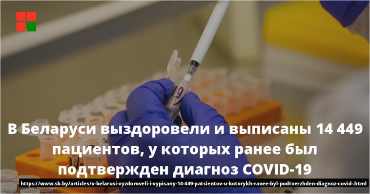 В Беларуси выздоровели и выписаны 14 449 пациентов, у которых ранее был подтвержден диагноз COVID-19 1
