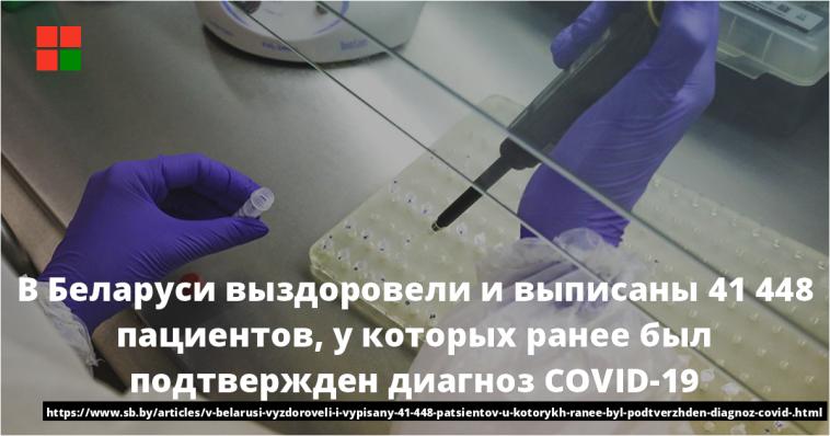 В Беларуси выздоровели и выписаны 41 448 пациентов, у которых ранее был подтвержден диагноз COVID-19 1